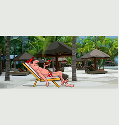 Cartoon man resting in a sun lounger on the beach vector