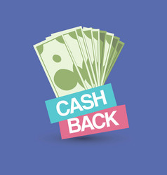 cash back emblem isolated dollar money vector image