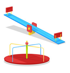 children carousel and seesaw for young kids vector image