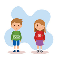 couple kids with december clothes vector image