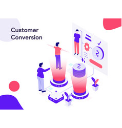 customer conversion isometric modern flat design vector image