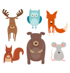 Cute cartoon animal characters set vector