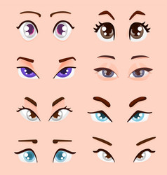 Cute cartoon female eyes - flat style vector