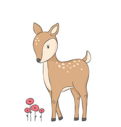 cute deer and red flowers woodland animal vector image