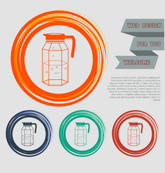 Decanter icon on the red blue green orange vector