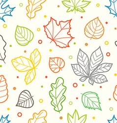 Different color leaves silhouettes seamless vector image