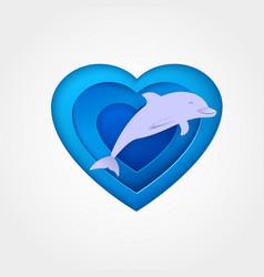 Dolphin on blue heart shaped sea vector