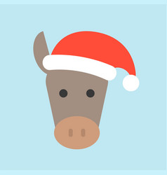 donkey wearing santa hat flat icon design vector image