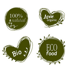 Doodle sale tags organic banners set love organic vector