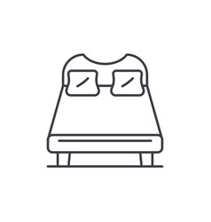 double bed line icon concept double bed vector image