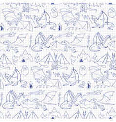 Dragons doodle seamless pattern vector