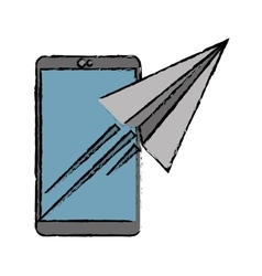 drawing smartphone sending email concept vector image