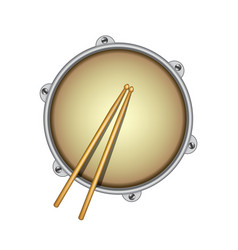 drum and pair of wooden drumsticks vector image