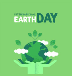 earth day card of human hands holding green planet vector image