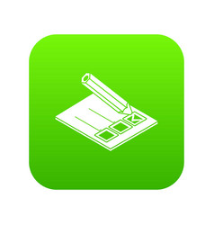 election paper icon green vector image