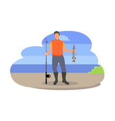 fishing fisherman with rod vector image