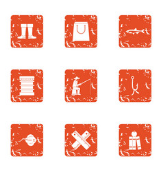 Fishing in the country icons set grunge style vector