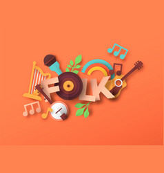 folk music style papercut musical icon quote vector image