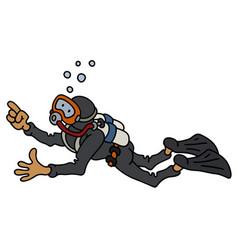 funny diver in a black neoprene vector image