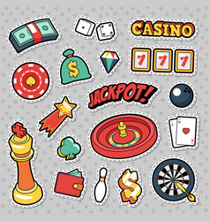 Gambling casino badges patches and stickers vector