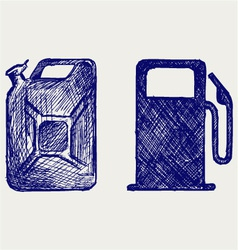 Gas station and jerrycan vector