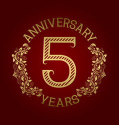 Golden emblem of fifth anniversary vector