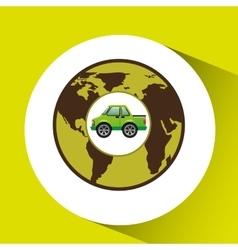 Green ecology car concept world vector