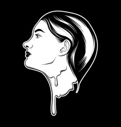 Hand drawn melting girl isolated creative vector