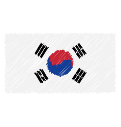 hand drawn national flag of south corea isolated vector image