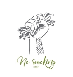Hand drawn useless cigarettes in human palm vector