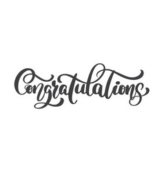 hand written congratulations calligraphy text vector image