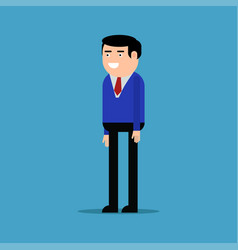 Happy businessman in a blue shirt vector