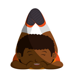 Happy little black boy character vector
