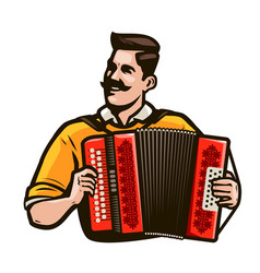 Happy man playing accordion music festival vector