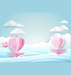 heart shape boat in the sea and cloud sky love vector image