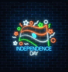 India independence day glowing neon sign with vector