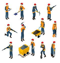 Isometric miners set vector
