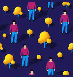 isometric seamless repeating pattern people vector image