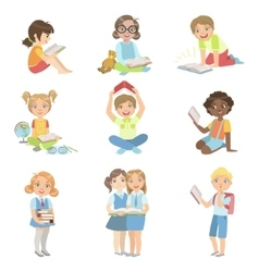 Kids Reading Books Icon Set vector