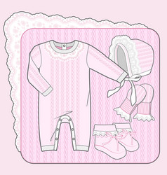Knitted collection for a newborn girl pink vector
