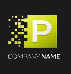 Letter p logo symbol in the colorful square vector