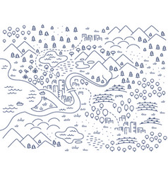 locality area map sketch city and village map vector image