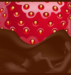 melted chocolate and strawberries vector image vector image