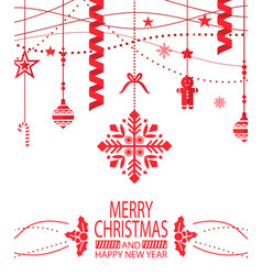 merry christmas and happy new year greeting poster vector image