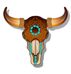 ornate cow skull encrusted with turquoise precious vector image