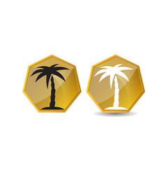 palm tree golden logo design template vector image