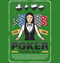 Poker tournament retro poster with female croupier vector