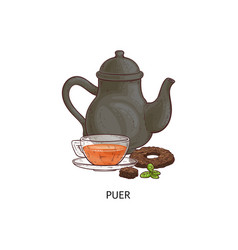 Puer tea - traditional asian hot drink in glass vector