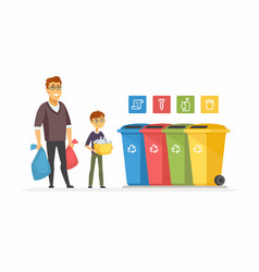 Recycling concept - modern cartoon people vector