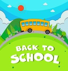 Schoolbus riding on road vector